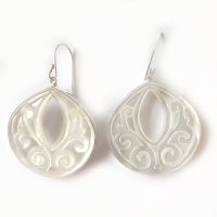 Hand Carved Mother of Pearl Dangle Earrings
