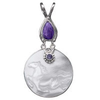 Mother of Pearl Horse Pendant with Charoite & Amethyst