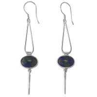 Natural Azurite Silver Dangle Earrings