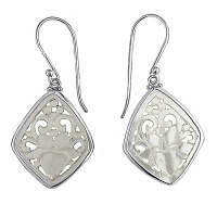 Carved Mother of Pearl Lotus Flower Earrings