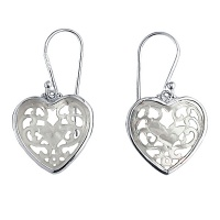 Carved Mother of Pearl Lotus Flower Heart Earrings