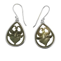 Gray Mother of Pearl Lotus EarringsGray Mother of Pearl Lotus Earrings