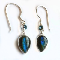 Labradorite Pear Dangle Earrings with Blue Topaz