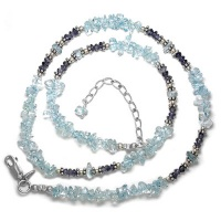"Blue Topaz & Iolite Beaded 18"" Necklace + 2"""