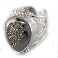 Platinum Window Druzy Ring