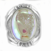 Opalized Window Druzy Oval Ring