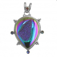 Rainbow Window Druzy Pendant with Rainbow Lavender Quartz