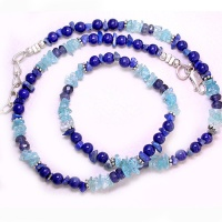 "Lapis, Iolite & Blue Topaz Beaded Necklace 18"" + 2"""