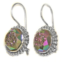 Faceted Titanium Window Druzy Latch Back Earrings