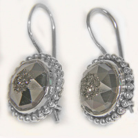 Faceted Platinum Window Druzy Latch-Back Earrings
