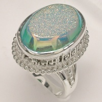 Golden Dream Aqua Window Druzy Ring with Om Mani Padme