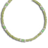 Peridot, Chrysoprase, Blue Topaz Beaded Necklace