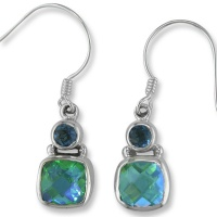 Caribbean Quartz and Celestial London Blue Quartz Dangle Earrings