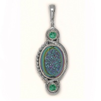 Rainbow Window Druzy and Celestial Green Blue Quartz Pendant