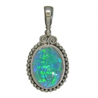 Blue Green Created Opal Pendant