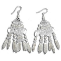 Mother of Pearl and Crystal Beaded Earrings