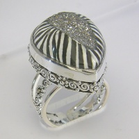 Platinum Zebra Window Druzy Ring