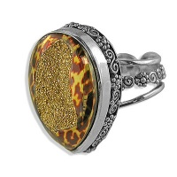 Gold Cheetah Window Druzy Ring