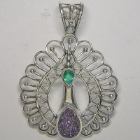 Sterling Silver Peacock Pendant with Caribbean Druzy and Caribbean Quartz