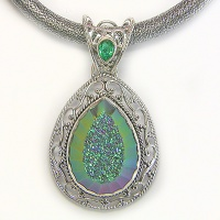 Faceted Forest Window Druzy Pendant and Thick Silk Cord with Silver Clasp