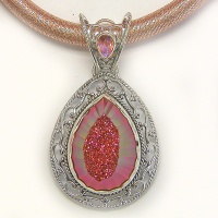 Faceted Sunset Window Druzy Pendant and Thick Silk Cord with Silver Clasp