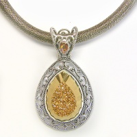 Faceted Gold Window Druzy Pendant and Thick Silk Cord with Silver Clasp