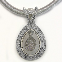 Faceted Platinum Window Druzy Pendant and Thick Silk Cord with Silver Clasp