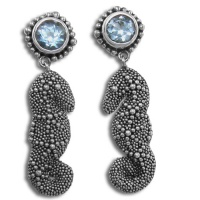 Seahorse Earrings with Blue Topaz