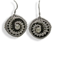 Black Shell Crop Circle Earrings with Aquamarine