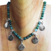 Moss Agate and Silver Four Direction Flower Necklace