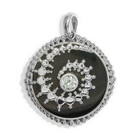Black Shell Crop Circles Pendant