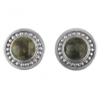 Sterling Silver Hand-Crafted Round Pietersite Clip Earrings