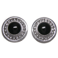 Sterling Silver Hand-Crafted Round Onyx Clip Earrings