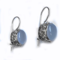 Blue Chalcedony Oval Latch-Back Earrings