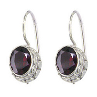 Garnet Oval Latch-Back Earrings