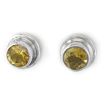 Sterling Faceted Citrine Round Post Earrings