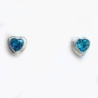 Faceted Swiss Blue Topaz Heart Post Earrings