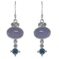 Blue Chalcedony & Blue Topaz Sterling Silver Earrings