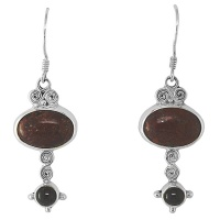 Brecciated Jasper and Black Star Sterling Silver Earrings