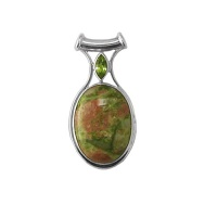 "Unakite and Peridot Pendant with 18"" Snake Chain"