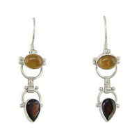 Amber and Garnet Dangle Earrings