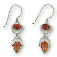 Garnet and Carnelian Dangle Earrings