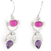 Pink Titanium Backed Moonstone and Amethyst Dangle Earrings