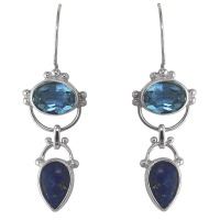 Blue Topaz and Lapis Dangle Earrings