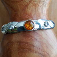 Amber and Rainbow Moonstone Cuff Bracelet