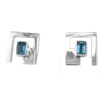 Geometric Blue Topaz Earrings