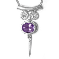 Amethyst Tube Bale Silver Charm Pendant with Chain