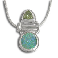 "Green Druzy & Peridot Pendant with 18"" Chain"