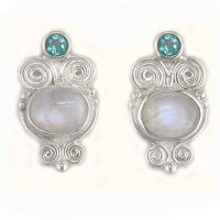 Rainbow Moonstone & Apatite Post Earrings