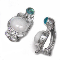Rainbow Moonstone & Apatite Clip Earrings